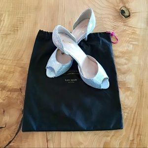 kate spade Glitter D'Orsay Pumps, silver w/bag.